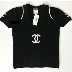 NWT FABULOUS CHANEL BLACK WHITE CASHMERE SWEATER
